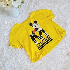 ⭐Disney Mickey Mouse Size Small Yellow Crop T-Shirt